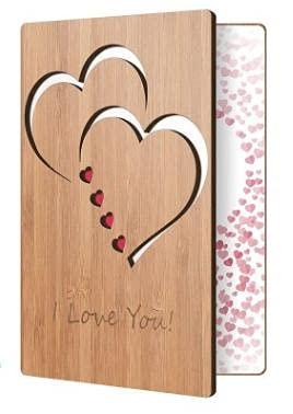 Tarjeta cumpleaños tarjeta de bambú escrita a mano con corazón por mujer, wedding card, tarjeta regalo tarjetas de felicitacion tarjetas navidad, tarjeta de invitacion madera, tarjeta san valentinB