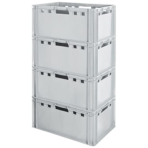 4 Stück E3 Fleischkiste Kiste Eurobox Lebensmittelecht Metzgerkiste Box Aufbewahrungsbox Kunststoff Wanne Plastik Stapelbar Lagerkiste 60 x 40 Grau Kingpower