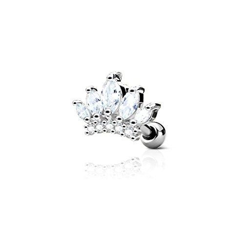 Kultpiercing - Helix Tragus Piercing Krone mit Zirkoniakristallen - Ear Cartilage Piercing-Stecker Barbell Studs - Silber