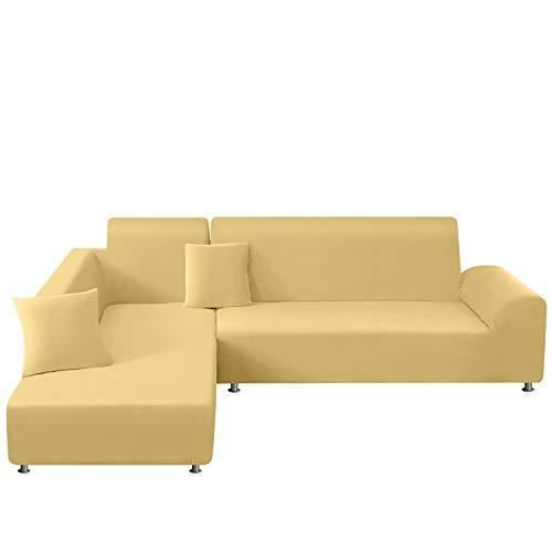TAOCOCO Copridivano con Penisola Elasticizzato Chaise Longue Sofa Cover Componibile in Poliestere a Forma di L (Beige, 3 Posti+3Posti)