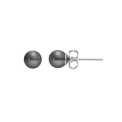 Heideman Ohrringe Damen Perlohrstecker aus Edelstahl silber farbend poliert Ohrstecker für Frauen mit Perle grau rund 6mm