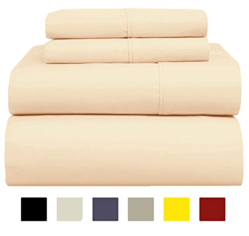 1000-Thread-Count 100% Pure Cotton Bed Sheets on Amazon - 4 Pc Queen Size Ivory Sheet Set, Single Ply Long Staple Combed Cotton Yarns, Best Luxury Sateen Weave, Fits Mattress Upto 17'' Deep Pocket