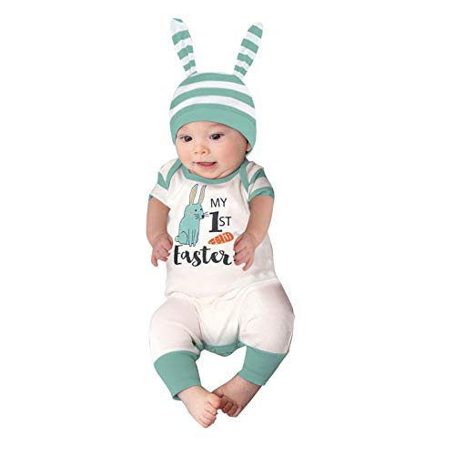Pistazie - Conjunto de ropa para bebé y niña, manga larga, algodón, con lazo y mariposa, conjunto de ropa para bebé verde Small