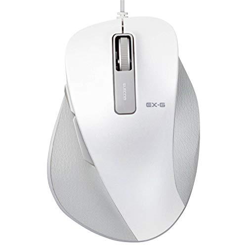 エレコム マウス 有線 Lサイズ 5ボタン (戻る・進むボタン搭載) BlueLED 握りの極み ホワイト M-XGL10UBWH