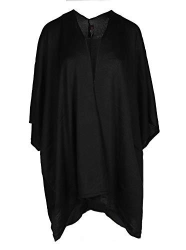Zwillingsherz Poncho-Schal mit Baumwolle - Hochwertiges Cape für Damen - XXL Umhängetuch und Tunika mit Ärmel - Strick-Pullover - Sweatshirt - Stola für Sommer und Winter - schwarz