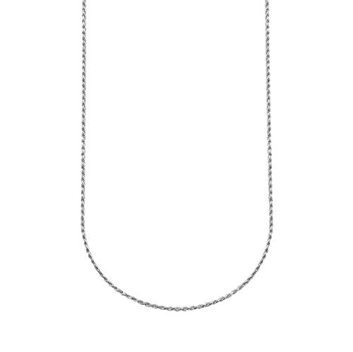 ChainsPro Cadenas SOGA Delgada 1.6mm Collares Largos 66cm Plata de Ley 925 Cadenas Platino Plateado Trenzadas de Cuerda