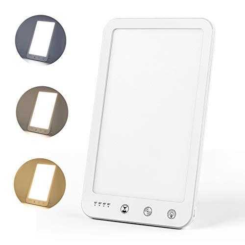 Lámpara de luz diurna Bojim, lámpara sad uv sin rayos, lámpara de luminoterapia con 5 modos de brillo, ajuste continuo de la temperatura de color, con función de memoria y temporizador