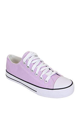 Frentree Unisex Damen Herren Sneaker Low Bequeme Leinenschuhe (bei größerem Fuss eine Nummer größer nehmen als Vorschlag), Farbe:lila, Größe:36