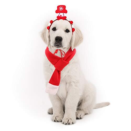 POPETPOP Haustier Weihnachten Kostüm Zubehör Hund Schneemann Stirnband und Weihnachten Schal Set für Hunde Katzen Haustiere