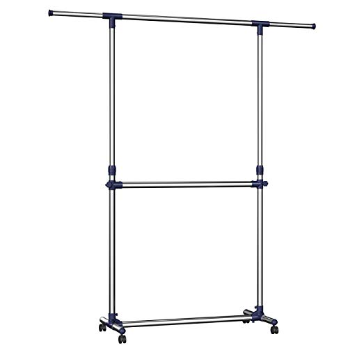 SONGMICS Adjustable Garment Rack Clothes Hanging Rail Stand with Middle Rail - Stainless Steel Clad Pipe LLR41L