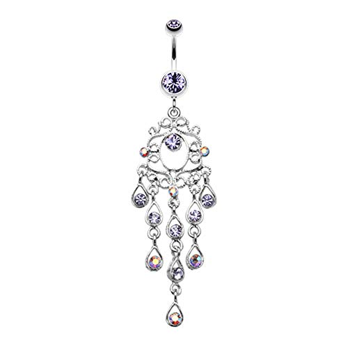 Covet Jewelry Classic Chandelier Sparkle Belly Button Ring (14 GA, Length: 10mm, Tanzanite)