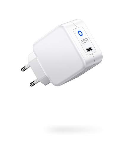 ESR 20W USB-C Netzteil Power Delivery Schnellladen kompatibel mit iPhone 12/12 Pro/12 Pro Max/12 Mini/SE 2020/11/XS/XR/X/8, Samsung S21/20/A52,iPad Pro 2020,iPad Air 4, AirPods Pro