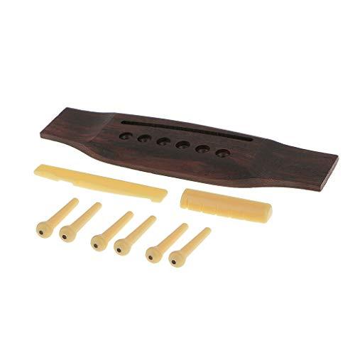 Rosewood Gitarren-Steg + Staffelei-Sattel + Set von 6 Saiten-Pins für Akustikgitarre