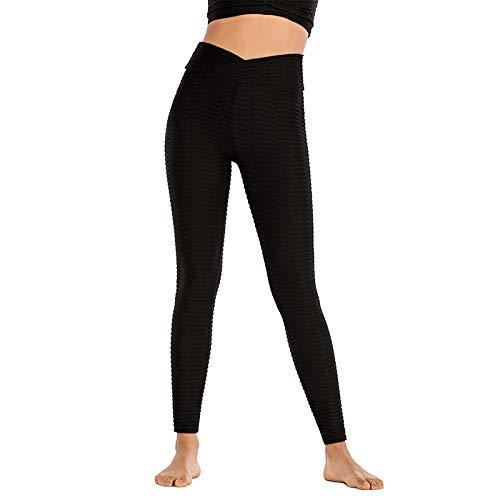 Yoga Leggings sin Costuras de Cintura Alta Leggins Push Up Deporte Mujer Fitness Running Pantalones de Yoga Energy Leggings sin Costuras Gym Girl Leggins Negro