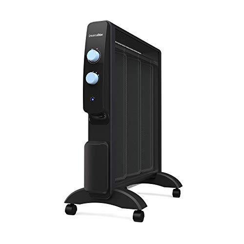 UNIVERSALBLUE | Calefactor Mica bajo Consumo | Radiador Silencioso 1500W |Color Negro | Termostato Regulable | Rápido calenamiento