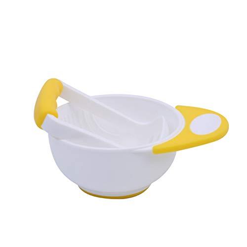 Yahunosu Soft 1 Conjunto de bebé Niños Trituradora Recipiente de moler Plato Conjunto triturar la Comida Molino de Verduras casero Haciendo bebé Jugo de Fruta alimento Amarillo y Negro