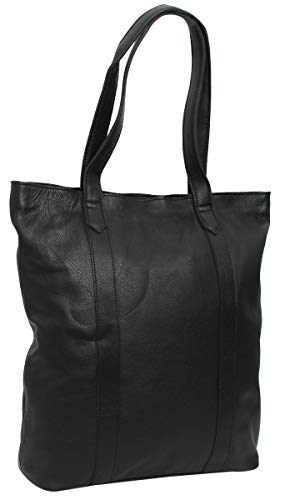 Shopper Handtasche Ledertasche Tragetasche Schwarz Leder