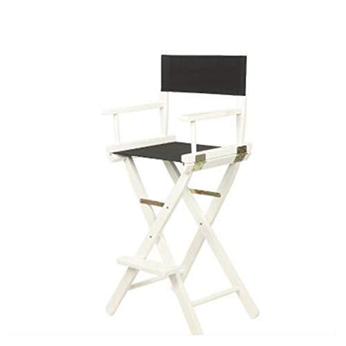 WZNING Klappstuhl aus Massivholz, hochwertiger Make-up-Stuhl, Barstuhl, tragbarer Stuhl, Klappstuhl, Leinen-Stuhl (Farbe: Weiß – Schwarz)