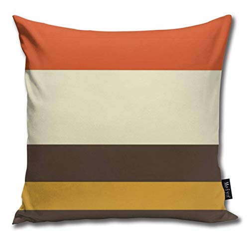 ewretery Vintage Orange Grey Yellow Cream Striped Cushion Covers Home Decorative Throw Pillowcases for Livingroom Sofa Bedroom Car 18X18inch