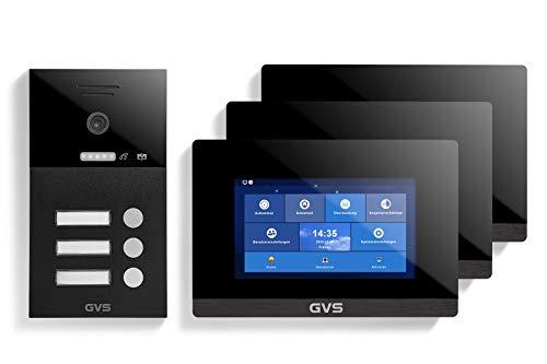 GVS AVS1291A - Videoportero de 4 cables/IP, IP65, monitor de 3 x 7 pulgadas, aplicación, cámara HD de 120 °, función de apertura de puerta, 32 GB de memoria, conmutador PoE, 3 unidades de casa familiar