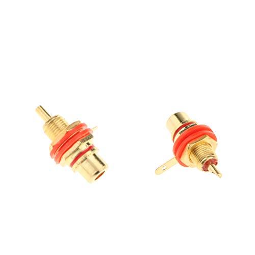 B Blesiya 2 Uds Conectores de Montaje en Panel RCA Chapados en Oro de Calidad para Amplificadores Rojo
