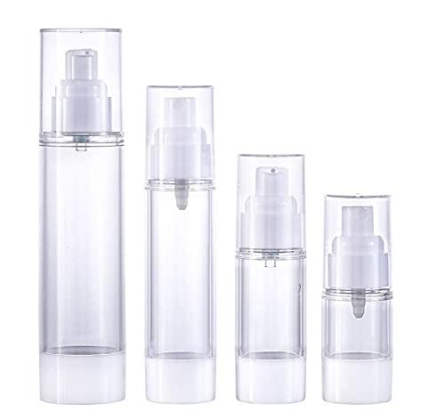 Confortabil Botella de spray transparente de 4 piezas, botella sin aire, botella de cosméticos y loción vacía botella de spray de plástico