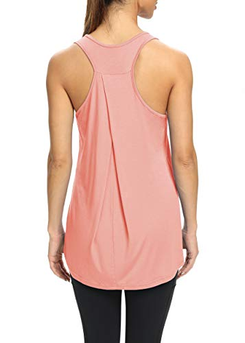 Bestisun Womens Yoga Shirts Workout Tank Tops Long Workout Shirts Loose Tunic Workout Tops Athletic Wear Gym Exercise Clothes Muscle Tank Pink XL