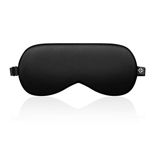 LONFROTE Schlaf Schlafbrille Augenmask Schlafmaske mit Ohrstöpsel und Tragetasche, Leicht & Bequem und Verstellbar, Super Weiches Material für Herren und Frauen Reisen Funktioniert (Schwarz)