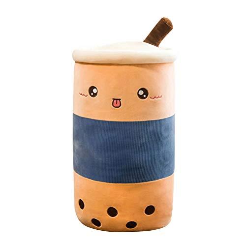 OUTEYE Bubble Tea Peluche de Juguete Muñeco de Peluche Taza de té Almohada cilíndrica Cojín para Dormir Regalo de cumpleaños