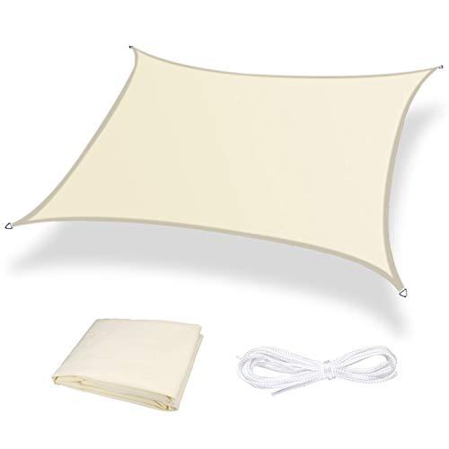 Moboo Sonnensegel Sonnenschutz Sonnendach Balkon Wetterschutz wasserabweisend Winddicht PES 420D 96% UV-Schutz für Garten Outdoor Viereck Rechteck Quadrat Cream White