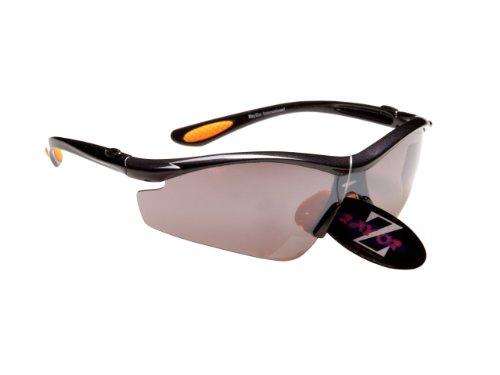 Rayzor Profesional Ligero UV400 Gun Metal Gris Deportes Wrap Cricket Gafas de Sol, con una antideslumbrante Lente Ahumado con Espejo.