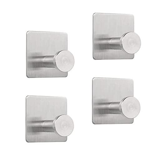 EXQULEG Ganchos autoadhesivos SUS304, para colgar toallas, ropa o pared, acero inoxidable, 4 unidades, para pared y cocina, cepillado