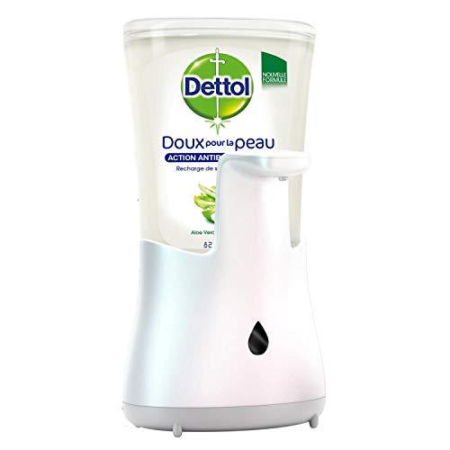 Dettol No-Touch kit - Distributeur Automatique Effet Inox et Gel Lavant Mains Aloe Vera