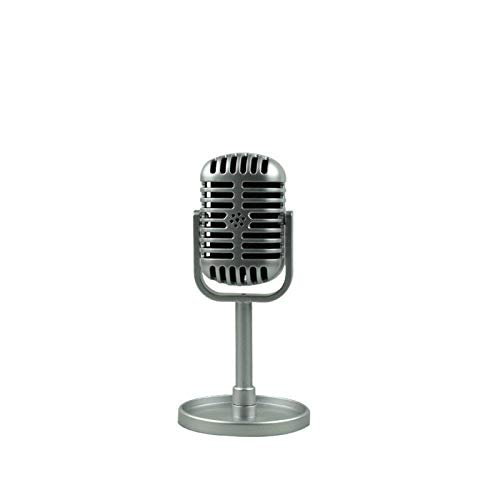 XUEXIU Retro Dynamic Vocal Micrófono Vintage Style Mic Universal Stand Compatible Actuación en Vivo Karaoke Studio Grabación para PC o Todo Smartphone (Color : Silver)