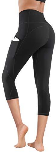 Lingswallow High Waist Yoga Pants - Yoga Pants with Pockets Tummy Control, 4 Ways Stretch Workout Running Yoga Leggings (Capris Black 11, X-Large)