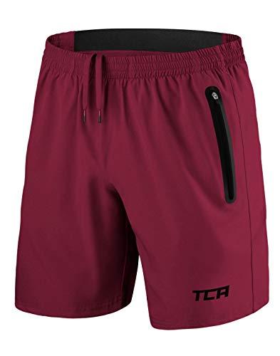 TCA Elite Tech Herren Trainingsshorts für Laufsport mit Reißverschlusstaschen - Dunkelrot - L