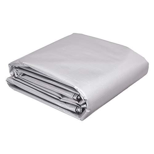 AmazonCommercial - Telo impermeabile multiuso in poliestere 3,6 x 7,6 metri, 0,4 mm di spessore, colore argento/nero, confezione da 1
