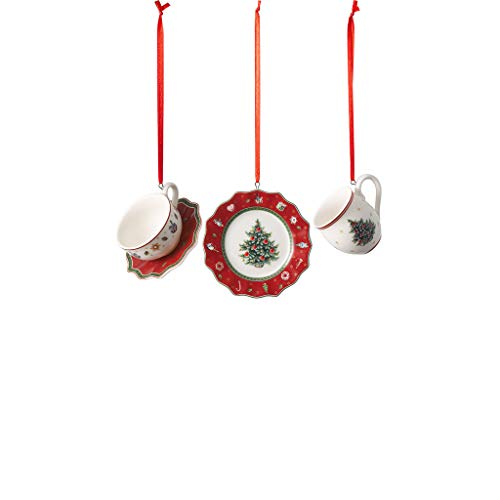 Villeroy & Boch - Toy's Delight Decoration Ornements Ensemble de Vaisselle Rouge, 3 pièces, Ensemble de suspensions charmantes pour Le Sapin de Noël, Porcelaine, Rouge, 4 x 7 cm