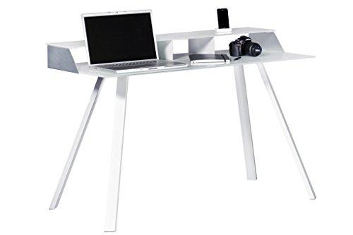 Jahnke Laptop-Schreibtisch, Echt-Aluminium, ESG-Sicherheitsglas, Metall pulverbeschichtet, weissglas/alu geschliffen, 120 x 60 x 83 cm
