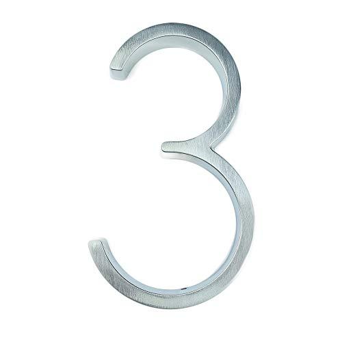 5 Zoll 3D Schwimmende Haus Plaque, Große Tür Nummer Hotel Haus Außen Adresse, Edelstahl Gebürstetes Nickel, Mit Schrauben Tasche, Splitter