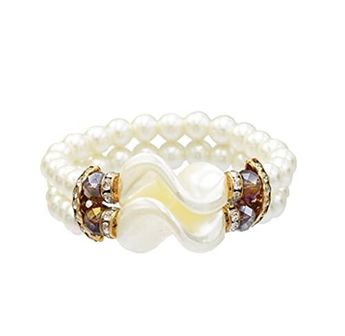 XiaoG BANDES DE Perlas DE Perlas Baroque DE Nombres para Las Mujeres Pulsera de Cuentas de la joyería del Encanto (Color : Marrón)