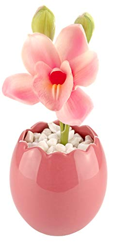 Artificial Real Touch Pink Peony Flowers in Decorative Ceramic Pink Pot for Modern Home Decor – 8.5 in/21.6cm Tall - Living Room Dining Dressing Coffee Table Desk Bedroom Gift