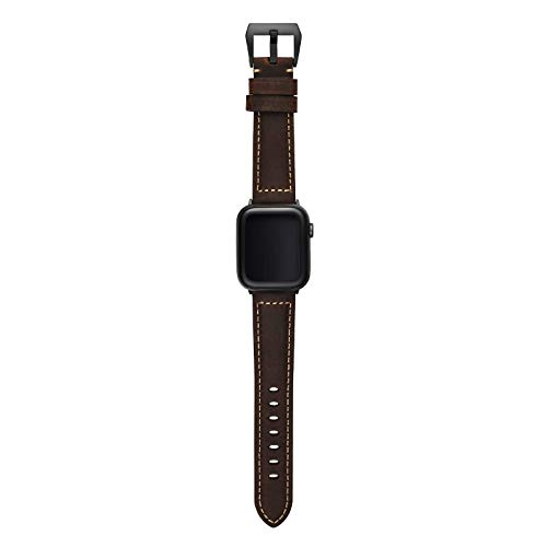 Bullstrap Men's Full-Grain Italian Leather Watch Band Compatible with Apple Watch Series 1-6, 40mm-38mm, Terra with Black Hardware