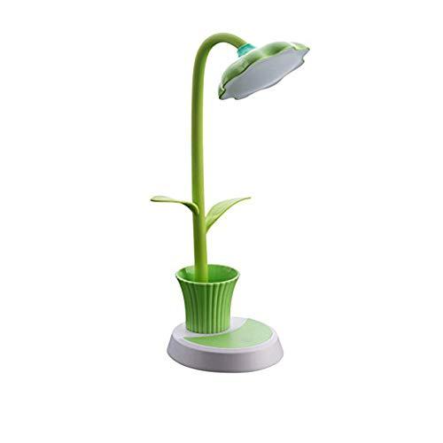 MianBaoShu Nachttischlampe dimmbare LED Schreibtischlampe für Alte Männer und Frauen,Kinder Sonne Blume Nachtlicht mit Touchsensor,per USB wiederaufladbare flexible Leselampe.(Grün,14,7x13,2x10,9cm)
