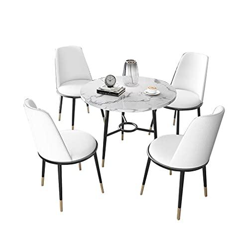 Krzesło kombinowane Kuchnia Krzesła do jadalni, balkon Sklep z herbatą mleczną Spotkanie Biuro sprzedaży Negocjuj z metalowymi stopami Mały okrągły stół i skórzane krzesło (kolor: biały)