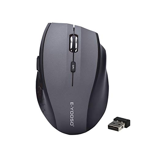 Wireless Mouse 2.4G Portable Mobile Optical Mouse with USB Receiver, Ergonomic Office Computer Wireless Mouse, 5 Adjustable DPI Levels, 6 Buttons, for Notebook PC Laptop Computer