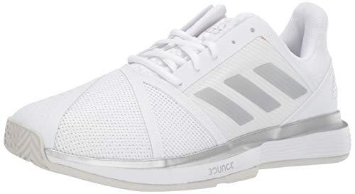 adidas Women's CourtJam Bounce Wide Tennis Shoe, White/Matte Silver/Grey, 11 M US