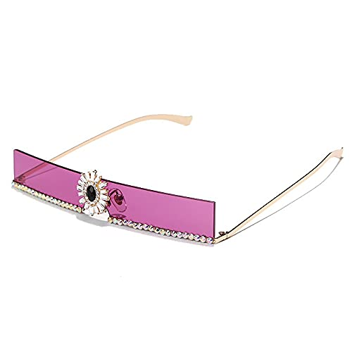 AMFG Gafas De Sol Rectangulares De Moda Estrecha Rhinestone Gafas De Color Marino (Color : A)