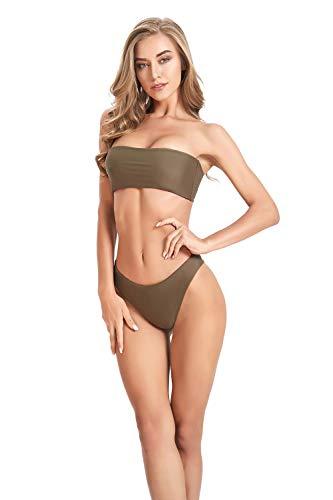 Annafiiore dames Italiaanse designer badmode, zomer 2019: minimalistische bandeau bikini, olijf, maat S / 36 EU