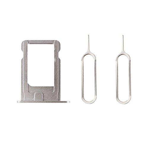 Mobofix Portatarjetas SIM Card Tray SIM Titular de la Tarjeta Plata para iPhone 5s + 2 SIM Aguja Nail Expulsar Pines